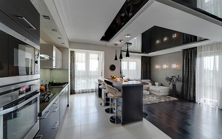 Дизайн кухни хай тек с керамическим полом
