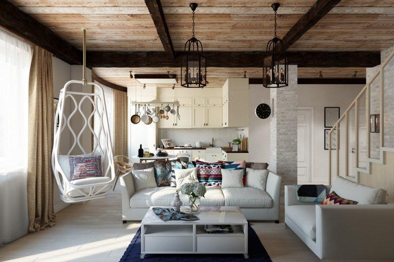 Интерьер гостиной с двумя диванами в частном доме