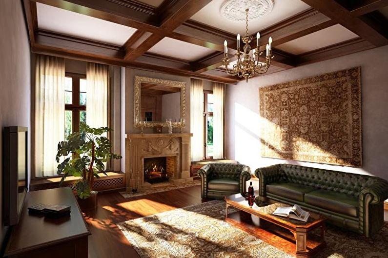 Деревянные балки на потолке гостиной в частном доме