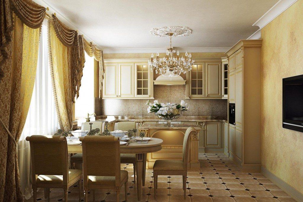 Обеденная зона в прямоугольной кухне классического стиля