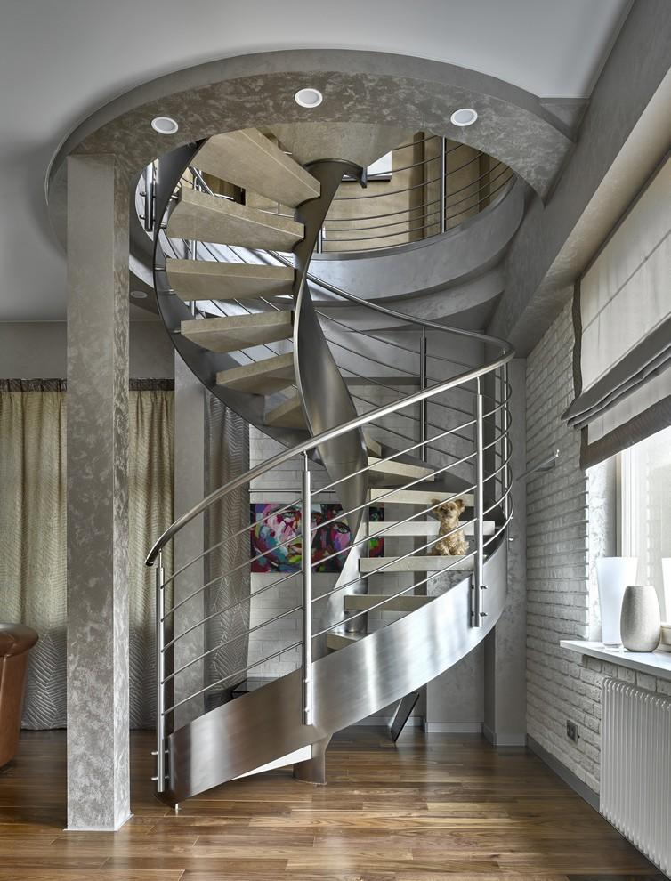Винтовая лестница в стиле хай тек