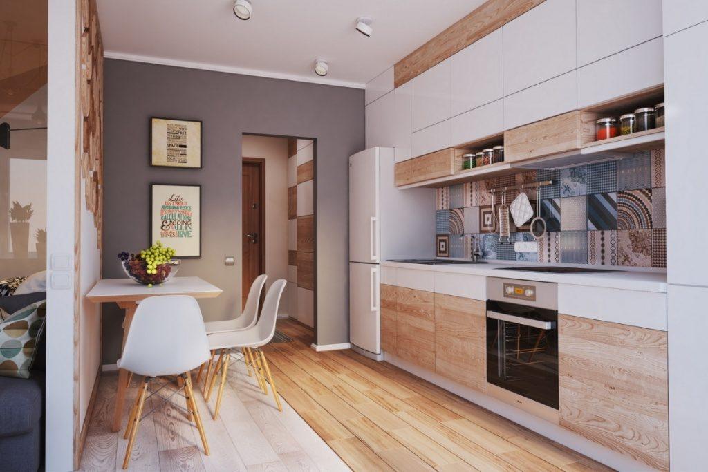 Дизайн прямоугольной кухни с линейной расстановкой мебели