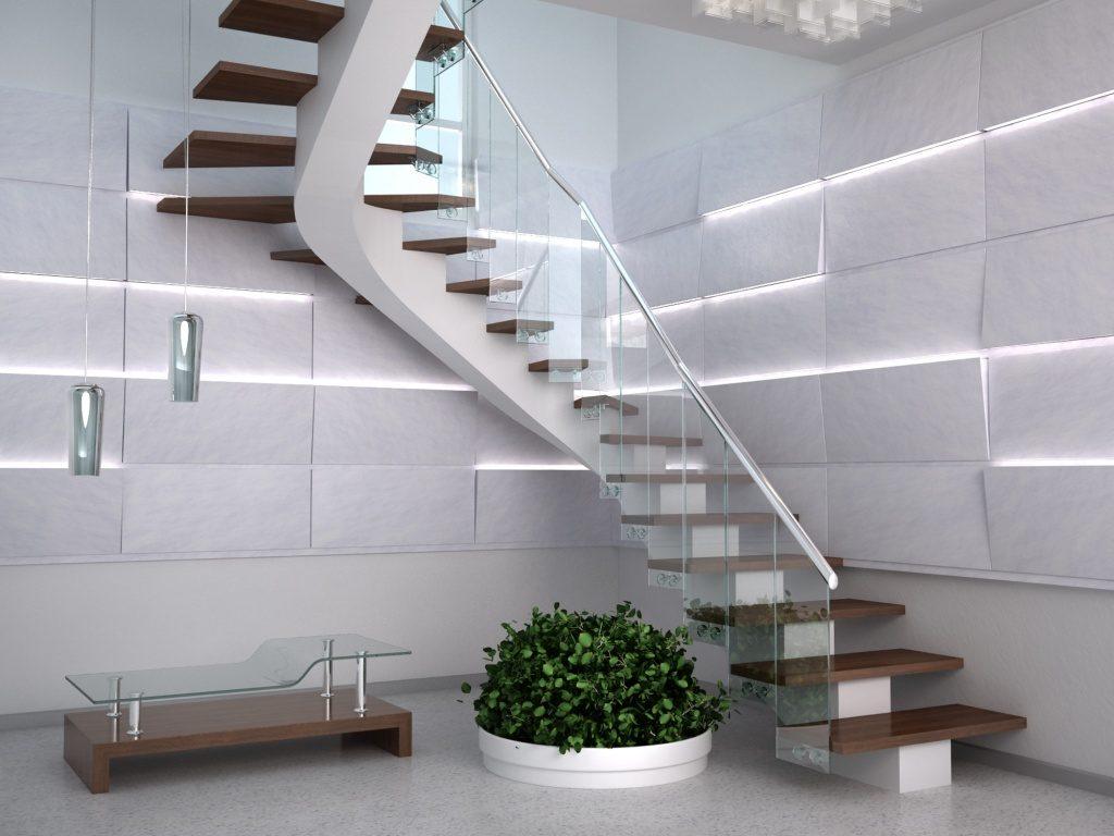 Дизайнерская лестница в холле стиля хай тек