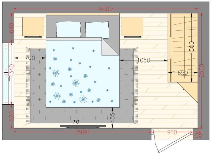 Схема спальни площадью в 10 квадратных метров
