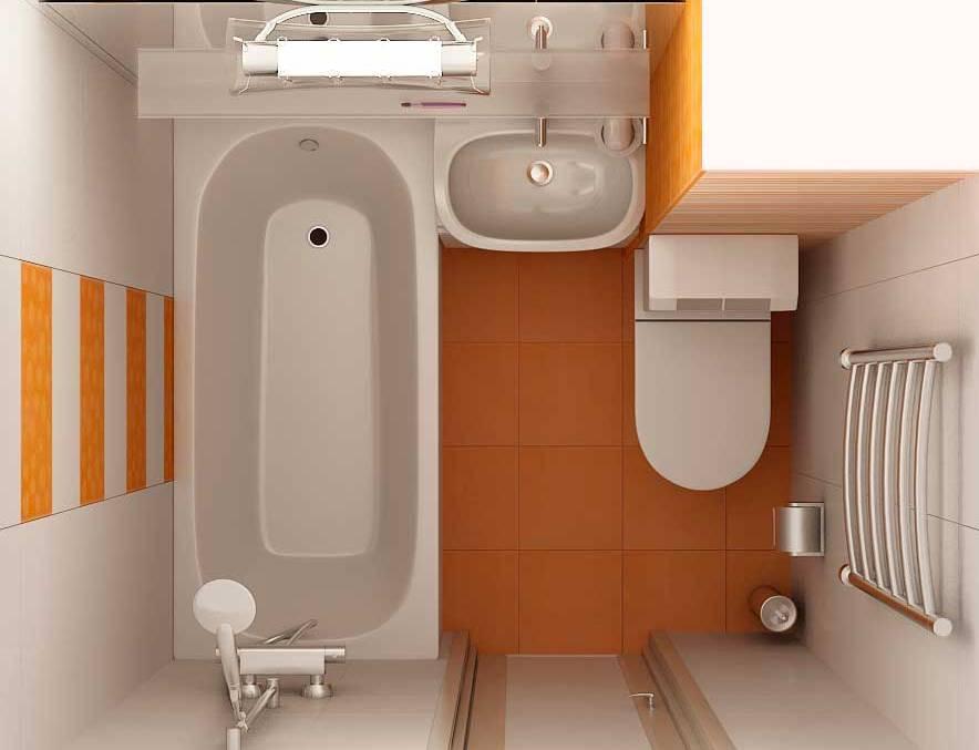Компактное размещение ванной и унитаза в маленьком помещении