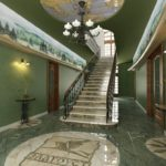 Интерьер холла с зелеными стенами