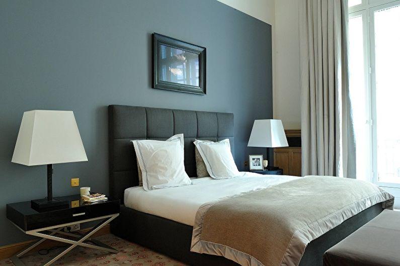 Серая стена в современной спальне