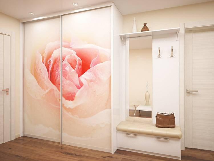 Большая роза на стеклянных дверцах шкафа