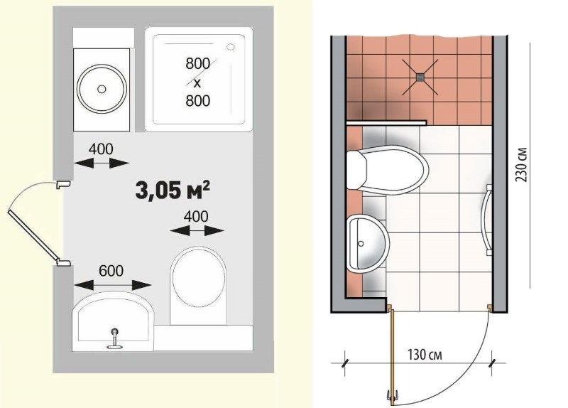 Схема ванной комнаты, совмещенной с туалетом