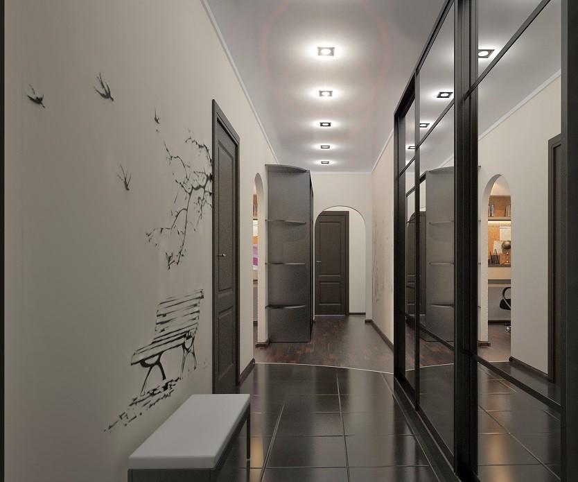 Керамический пол в узком коридоре квартиры