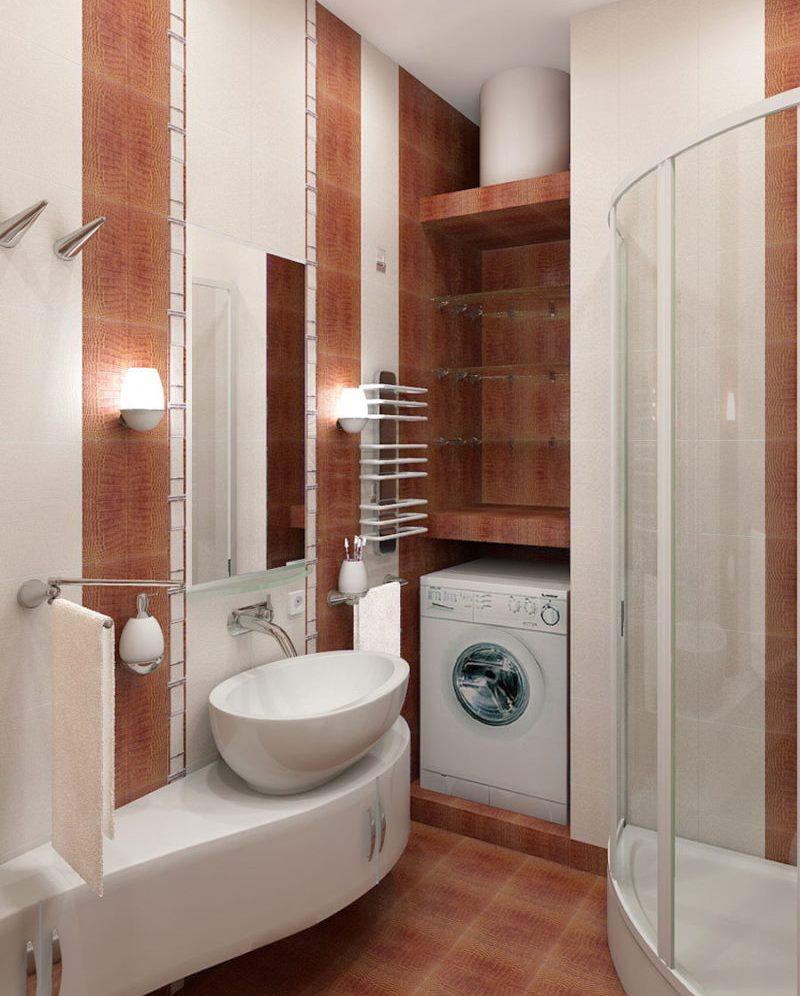 Место для стиральной машинки в совмещенной ванной комнате
