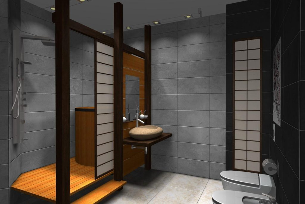 Интерьер совмещенной ванной в японском стиле