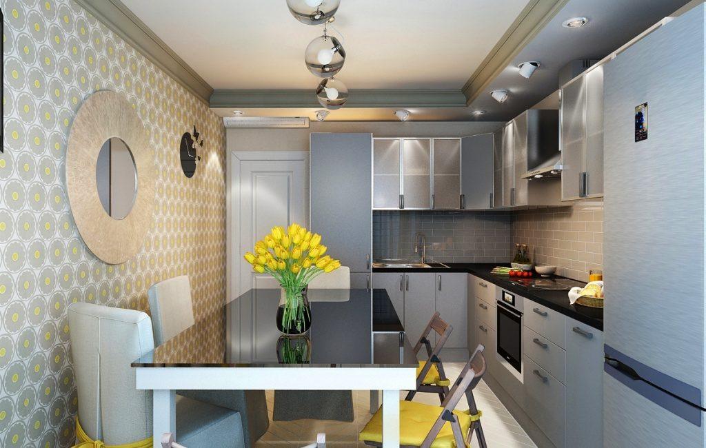 Желтые тюльпаны на кухонном столе