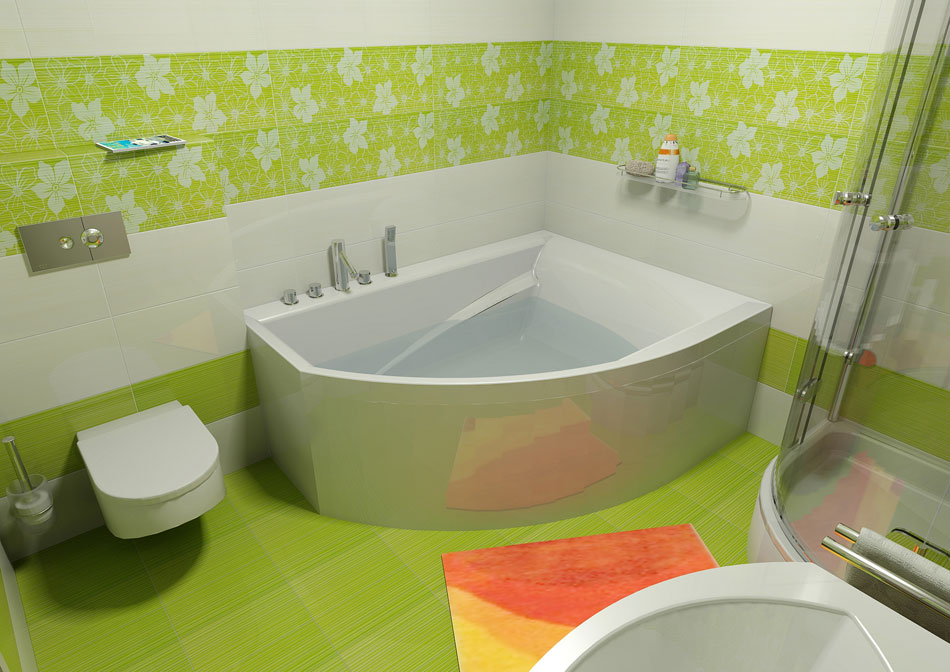 Акриловая ванна угловой формы в совмещенном санузле