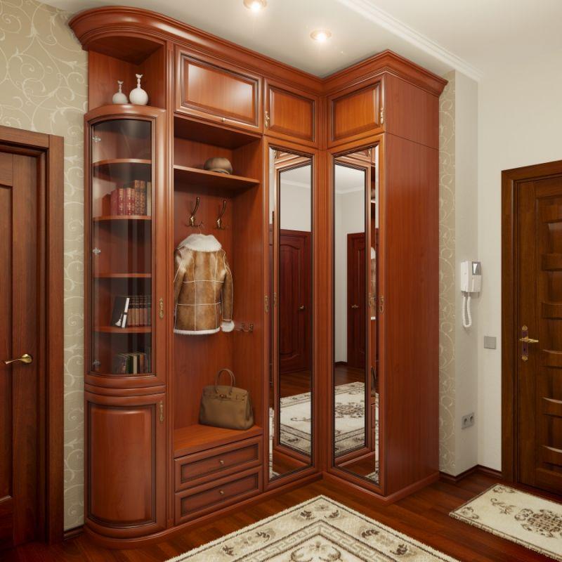 Угловой шкаф в прихожей классического стиля