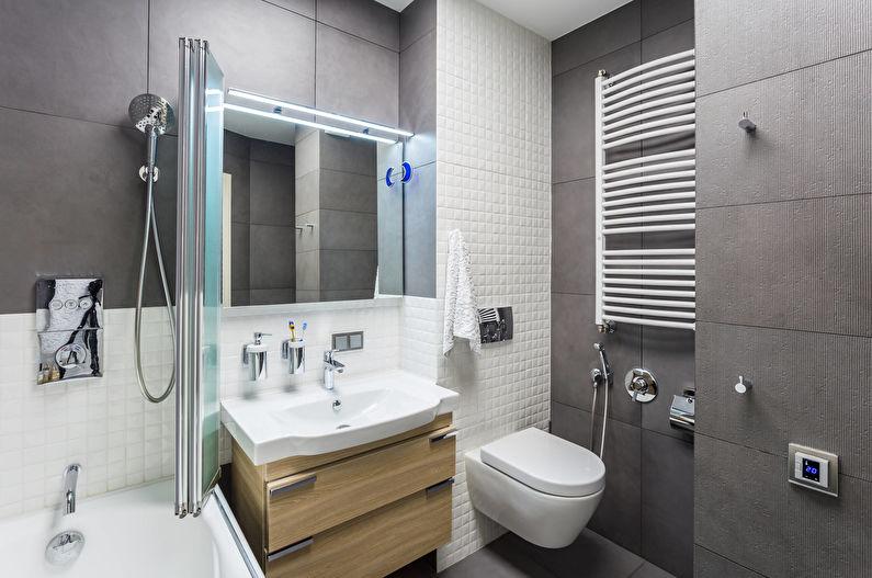 Серая ванная комната с подвесным унитазом