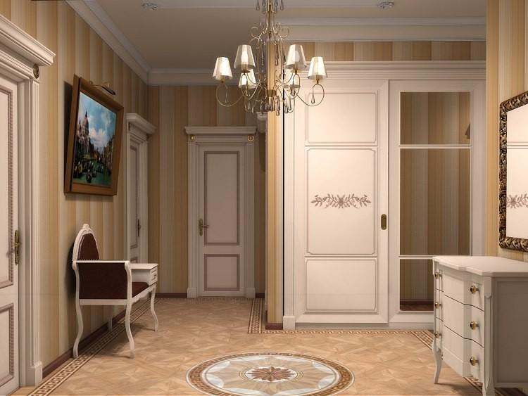 Встроенный шкаф в интерьере классической прихожей