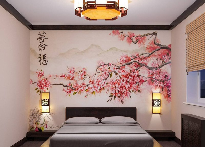 Сакура на фотообоях в японской спальне