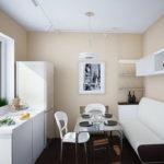 Бело-коричневый диванчик необычной формы для обеденной зоны
