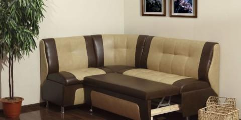 Бежево-коричневый раскладной диван для кухни