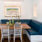 Большой синий угловой диван с ящиками