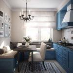 Синий гарнитур в небольшой кухне