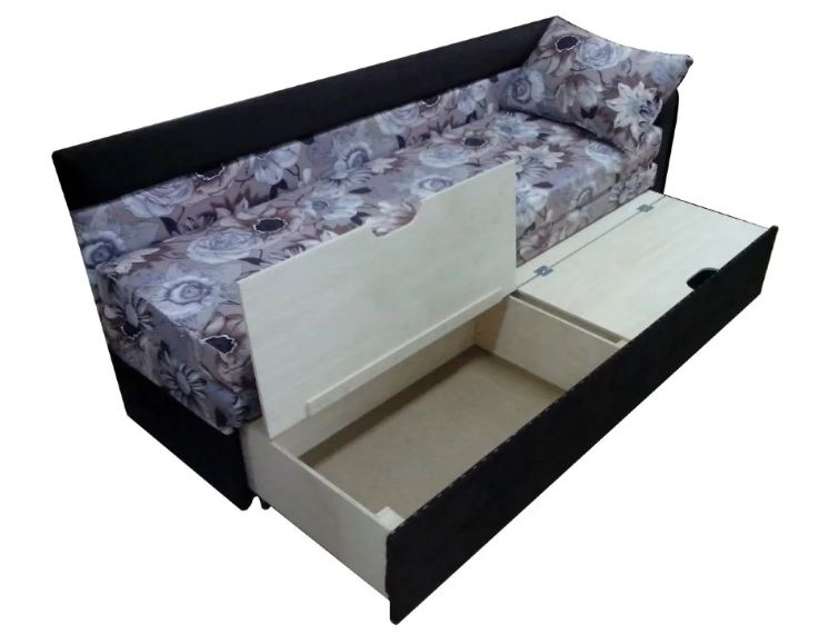 Узкий раскладной диван с ящиками для хранения