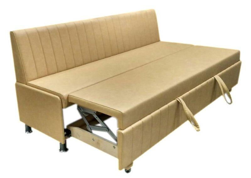 Узкий прямой диван для кухни в разложенном состоянии