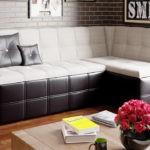 Двухцветный угловой диван-трансформер на кухню