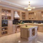Люстра над кухонным островом