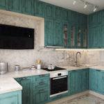 Черный телевизор на кухонной стене