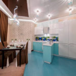 зонирование кухни напольным покрытием