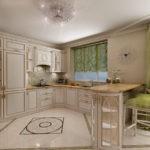 Дизайн кухни с глянцевым полом