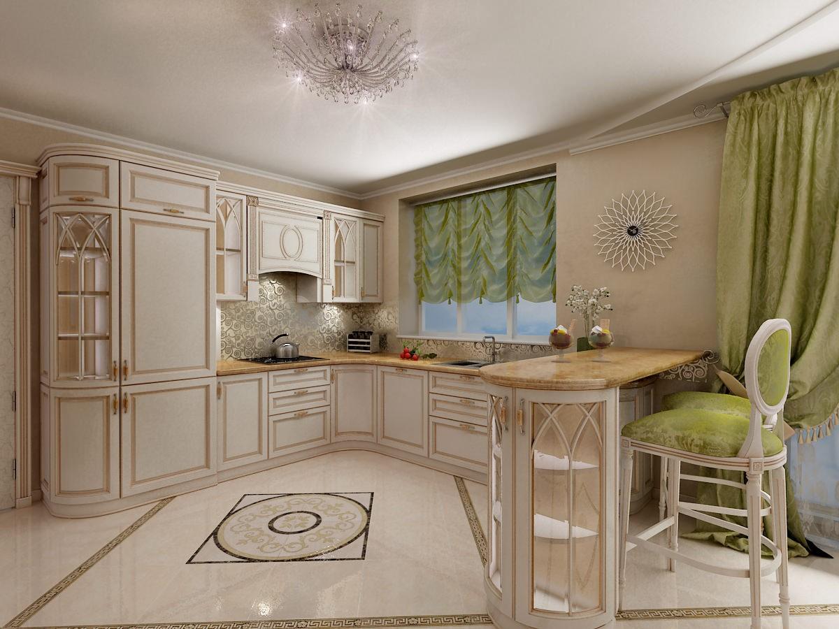 Кухня студия формы г классика дизайн фото