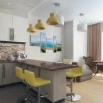 Дизайн кухни с зоной отдыха возле окна