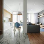 Зонирование кухни гостиной напольным покрытием