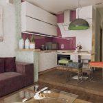 Подиум в современной кухне гостиной
