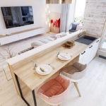 Дизайн кухни с полуостровом у стены