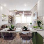 Обеденный стол в виде полуострова в кухне гостиной