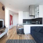 Вытянутая кухня гостиная в стиле минимализма