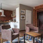 дизайн кухни гостиной с выделенной рабочей зоной
