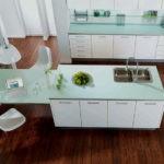 Кухонная мебель с мятной столешницей