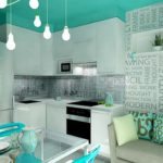 Бирюзовый потолок в интерьере кухни