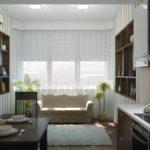 Дизайн кухни с двухместным диваном