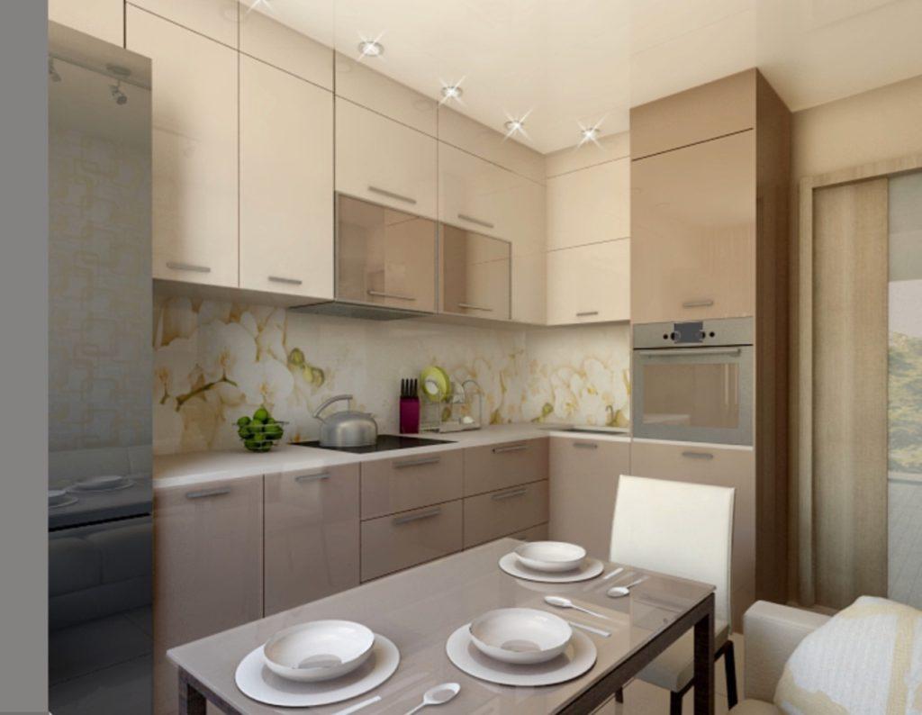 Глянцевые фасада кухонного гарнитура до потолка