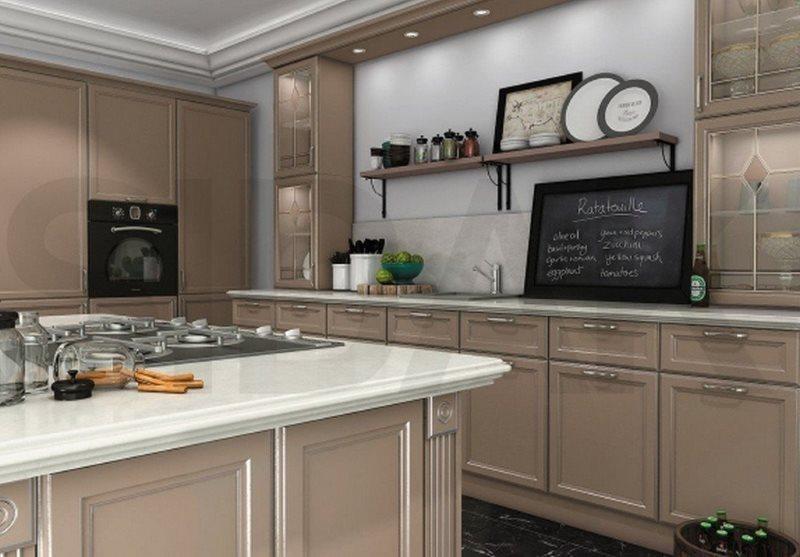 Грифельная доска для рецептов на кухонной столешнице