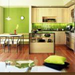 Использование зеленого на кухне, разделенной на зоны