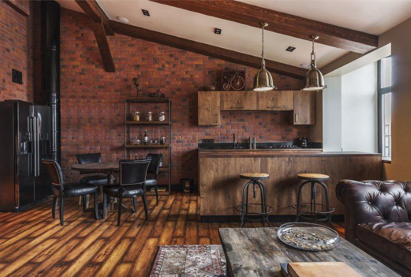Кирпичная стена на модной кухни