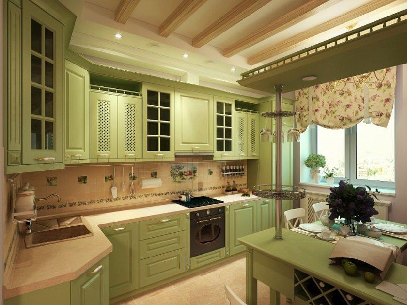 Светло-зеленая кухня угловой планировки