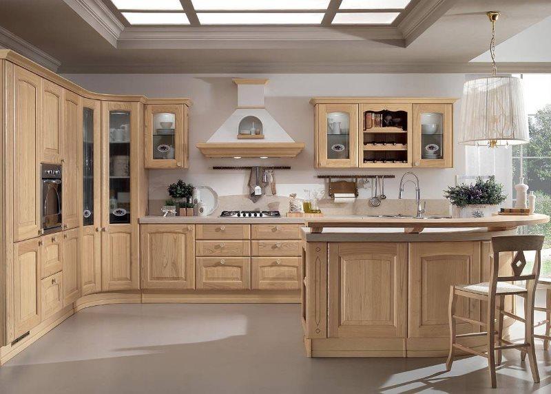 Светло-коричневый гарнитур в кухне кофейного цвета